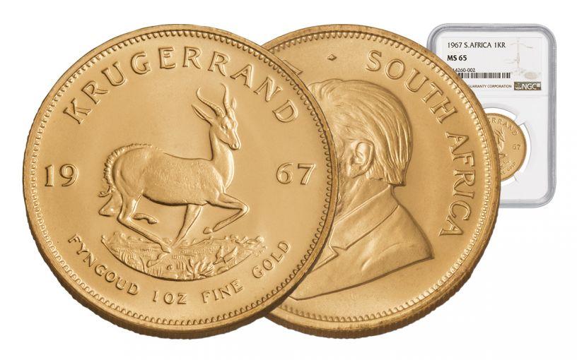 1967 South Africa 1-oz Gold Krugerrand NGC MS65