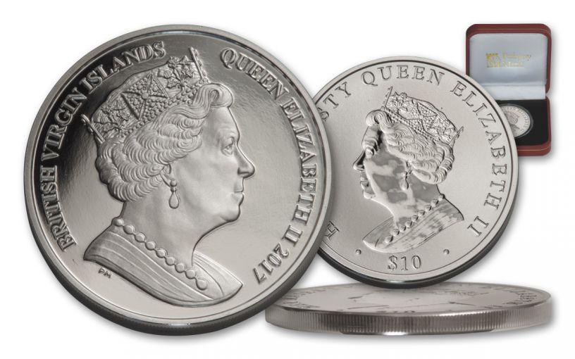 BVI 2017 $10 1-OZ SILVER QUEENS DOUBLE HEADED PF