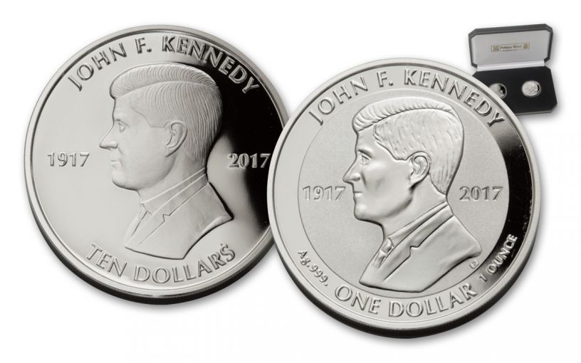 2017 British VIrgin Islands 10 Dollar 1-oz Silver JFK Proof and 1 Dollar Reverse Proof 2-Piece Set