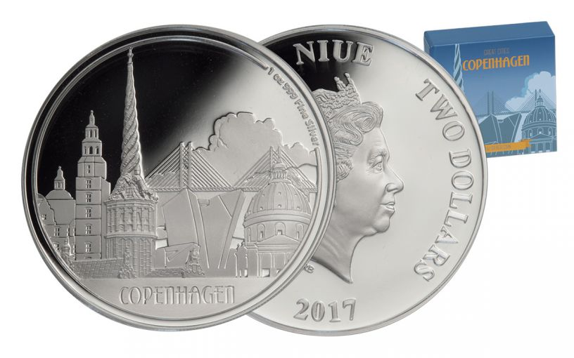 2017 Niue 2 Dollar 1-oz Silver Great Cities Copenhagen Proof