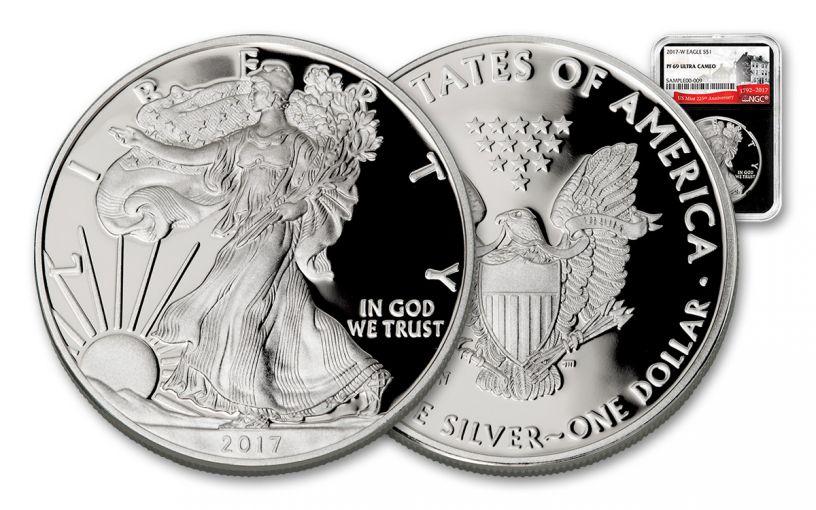 2017-W 1 Dollar 1-oz Silver Eagle Proof NGC PF69UCAM 225th Anniversary - Black