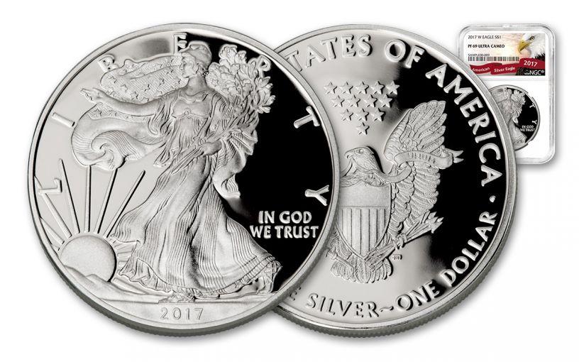 2017-W 1 Dollar 1-oz Silver Eagle Proof NGC PF69UCAM Eagle Label