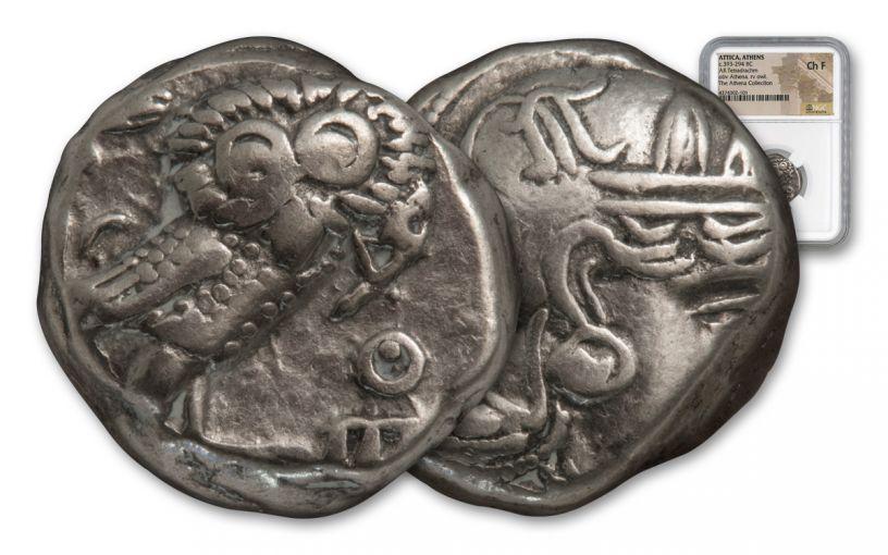 Ancient Greek Tetradrachm Athena Owl NGC Choice F