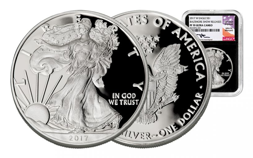 2017-W 1 Dollar 1-oz Silver Eagle NGC PF70UCAM Baltimore Show Releases Mercanti - Black