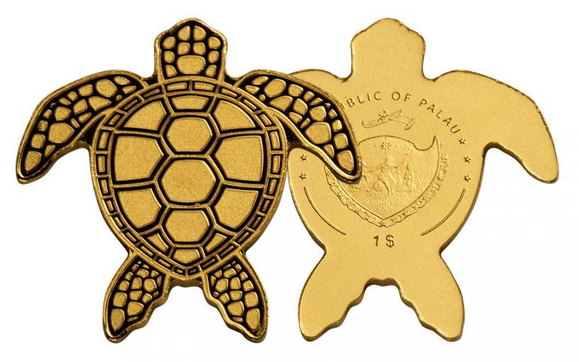 Palau 1 Dollar Half Gram Golden Sea Turtle Brilliant Uncirculated