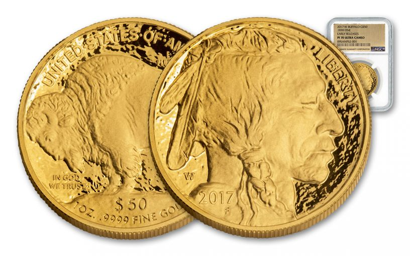 2017-W 50 Dollar 1-oz Gold Buffalo Proof NGC PF70UCAM Early Release Gold Foil Label