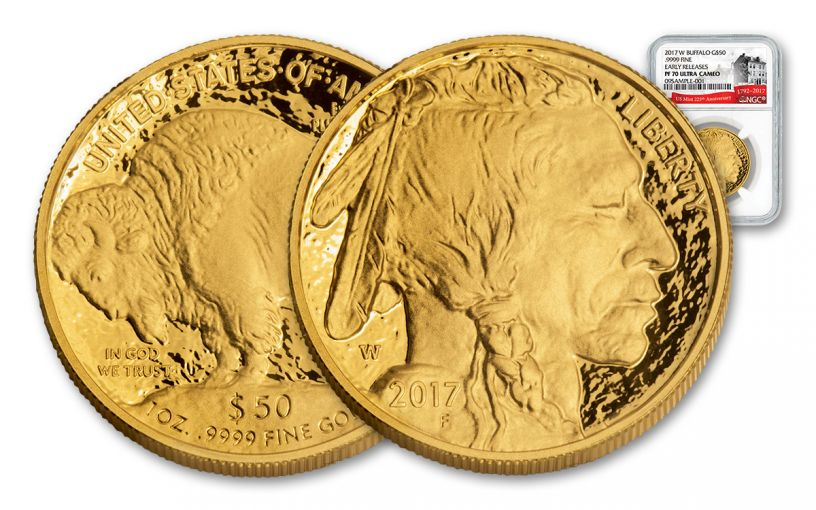 2017-W 50 Dollar 1-oz Gold Buffalo Proof NGC PF70UCAM Early Release 225th Anniversary