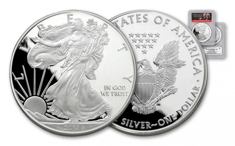 2017-S 1 Dollar 1-oz Silver Eagle Proof PCGS PR70DCAM FDI Trump Pence