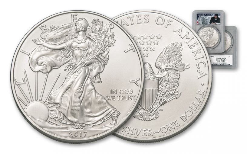 2017 $1 1OZ SILVER EAGLE PCGS MS70 FS LIB COIN ACT