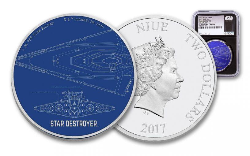 2017 Niue 2 Dollar 1-oz Silver Star Wars Star Destroyer NGC PF70