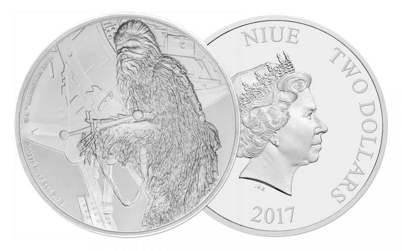 2017 Niue 2 Dollar 1-oz Silver Star Wars Classic Chewbacca Proof