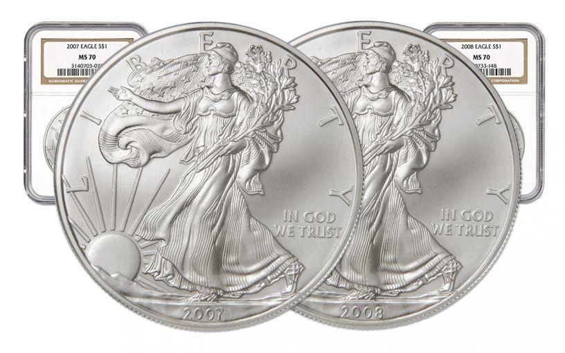 2pc 2007-2008 1 Dollar 1-oz Silver Eagle NGC MS70 Set