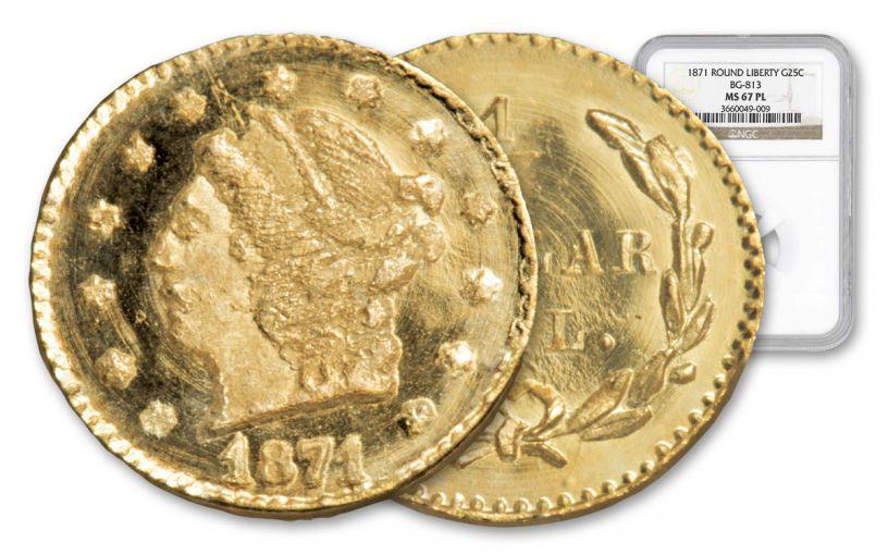 1871 25 Cent Gold BG-813 California Fractional Round Liberty NGC MS67PL