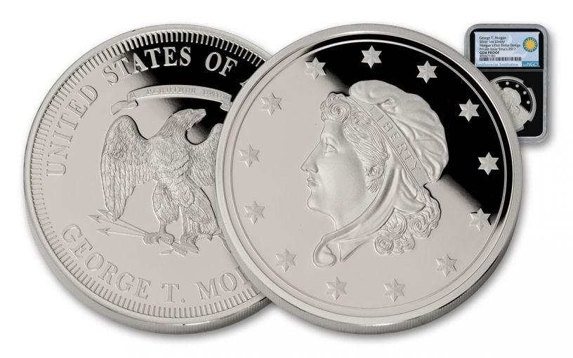 Morgan's First 1-oz Silver Dollars Smithsonian Institution NGC Gem Proof Ultra Cameo - Black