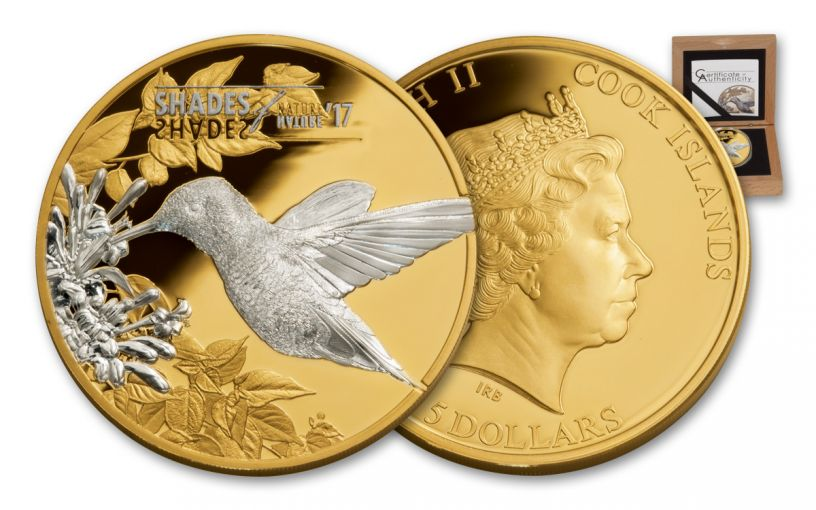 2017 Cook Islands 5 Dollar 25-gram Silver Shades of Nature Hummingbird Proof