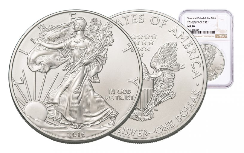 2016-P 1 Dollar 1-oz Silver Eagle NGC MS70 Brown Label