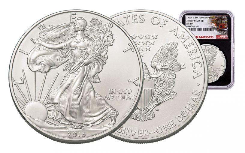 2016-S 1 Dollar 1-oz Silver Eagle NGC MS69 Trolley Label - Black