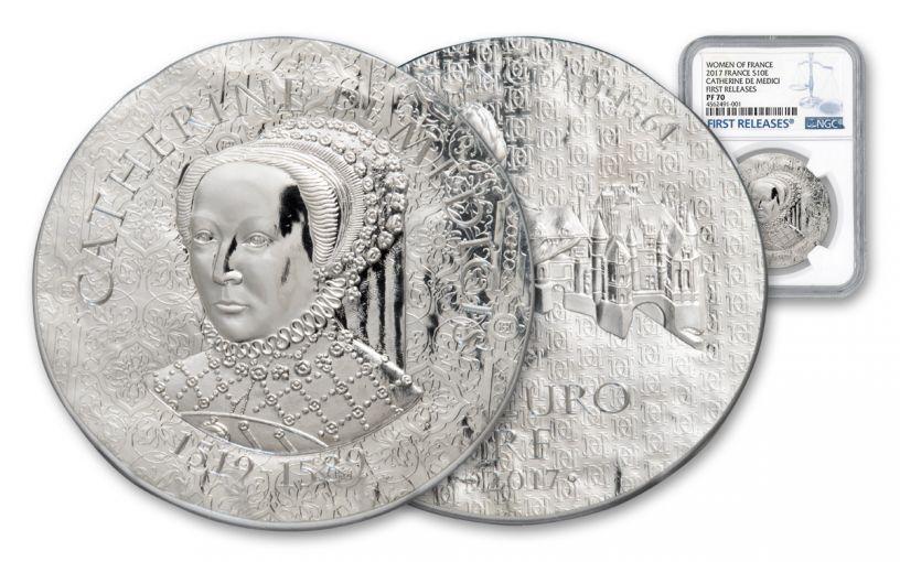 2017 France 10 Euro Silver Women of France Catherine De Medicis NGC PF70