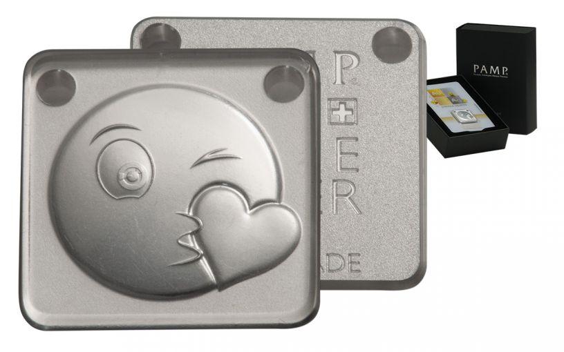 2017 PAMP 10-g Silver Emoji Kiss Ingot Pendant