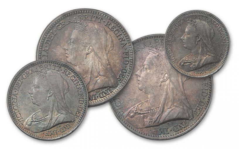 1899 Great Britain Silver Queen Victoria Maundy Set PCGS MS67 PL