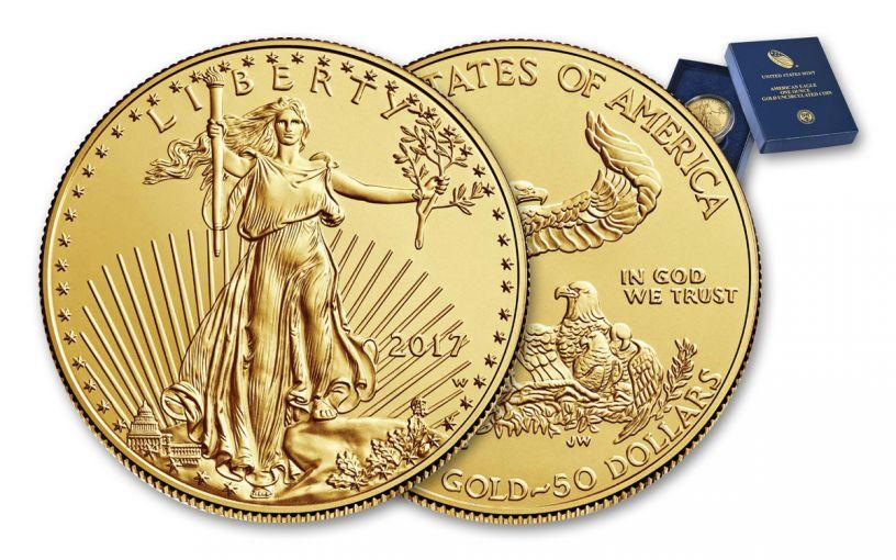 2017-W 50 Dollar 1-oz Burnished Gold Eagle GEM BU with OGP