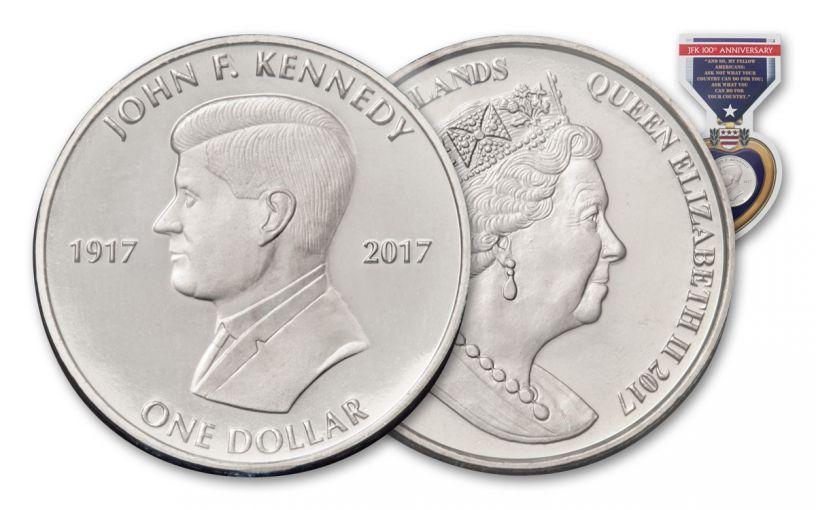 2017 British Virgin Islands 1 Dollar Cupro John F. Kennedy Centenary BU