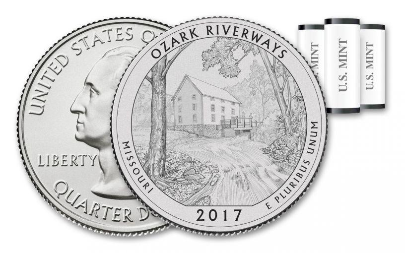 2017 America the Beautiful Ozark National Scenic Riverways Quarters 3 Roll Set