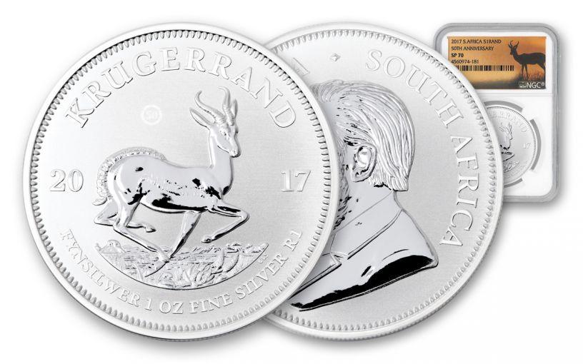 2017 South Africa Silver Krugerrand NGC SP70- Springbok at Sunset Label
