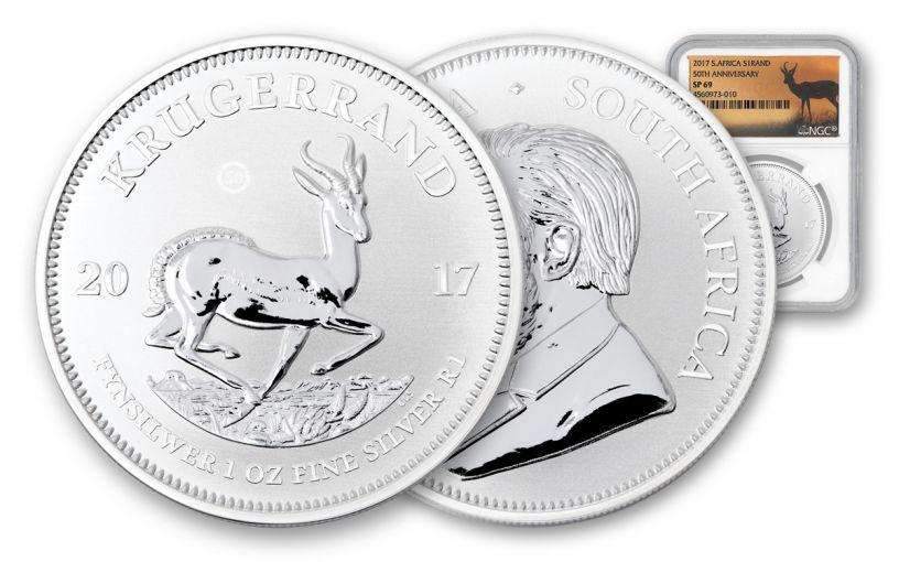 2017 South Africa Silver Krugerrand NGC SP69- Springbok at Sunset Label