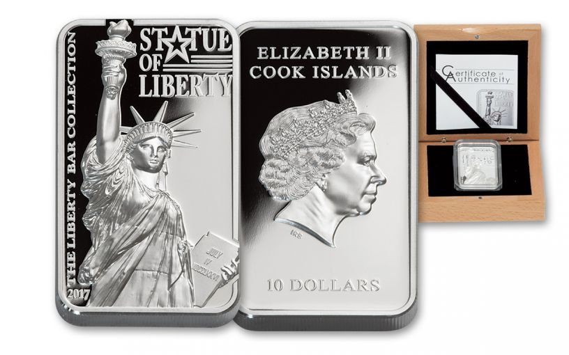 2017 Cook Islands 10 Dollar 2-oz Silver Statue Of Liberty Bar Proof