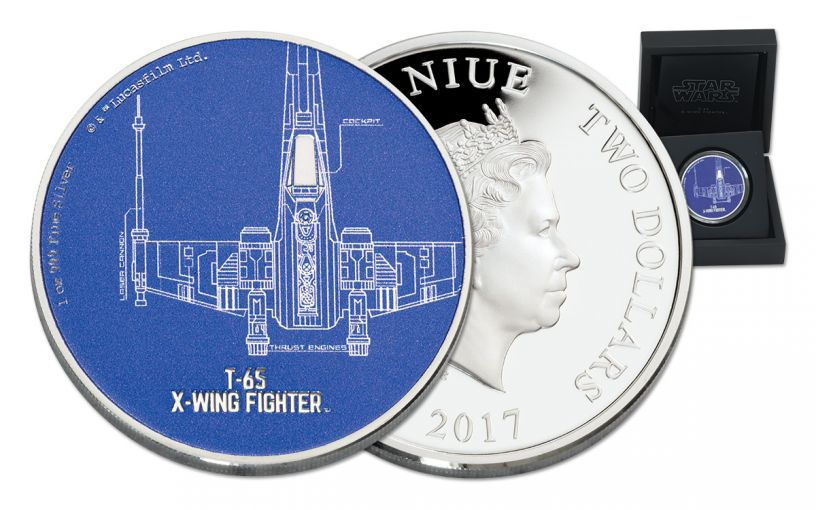 2017 Niue 2 Dollar 1-oz Silver Star Wars Ships T-65 X-Wing Fighter Proof