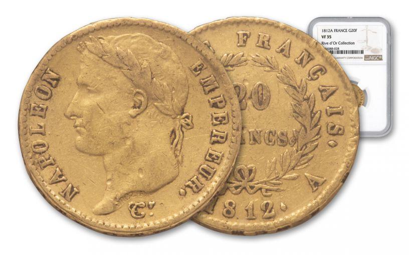 1812-A France 20 Franc Napoleon I Rive D' NGC VF35
