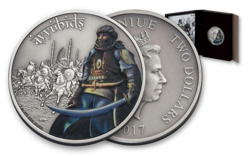 2017 Niue 2 Dollar 1-oz Silver Warriors of History Proof- Ayyubids