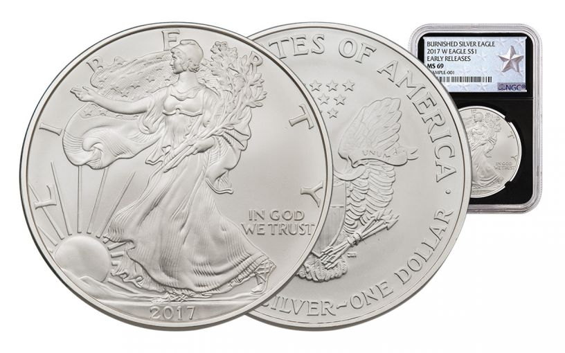 2017-W 1 Dollar 1-oz Burnished Silver Eagle NGC MS69 Early Release Silver Star Label - Black