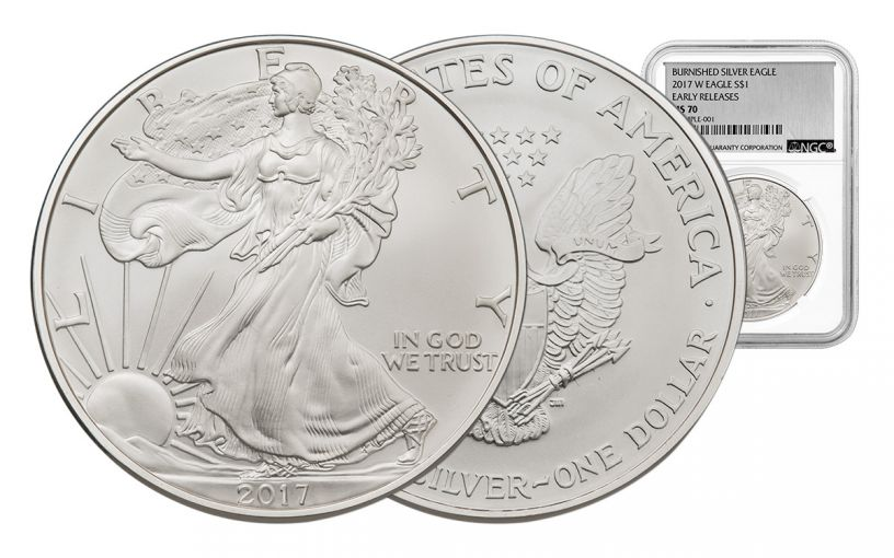 2017-W 1 Dollar 1-oz Burnished Silver Eagle NGC MS70 Early Release Silver Foil Label