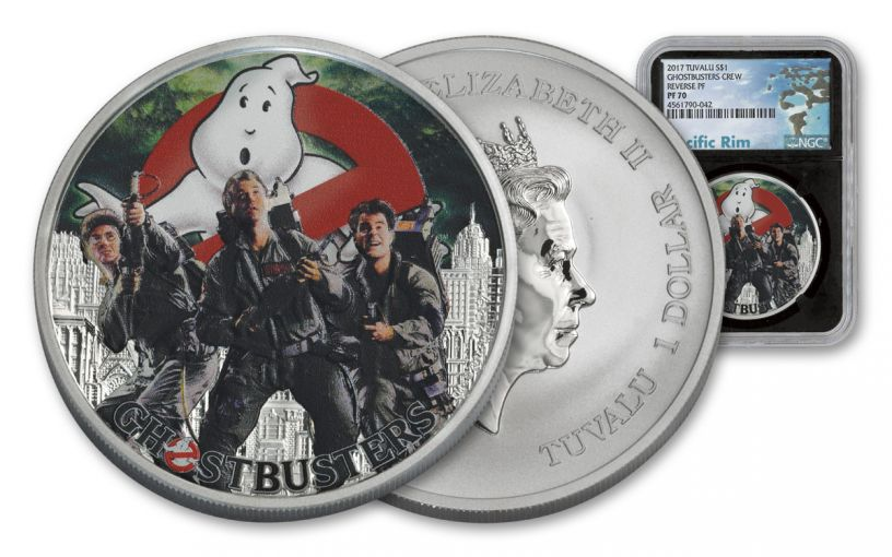 2017 Tuvalu 1 Dollar 1-oz Silver Ghostbusters Crew MS70