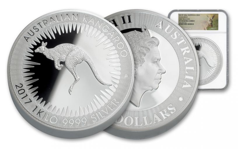 2017 Australia 30 Dollar 1 Kilo Silver Kangaroo NGC PF70