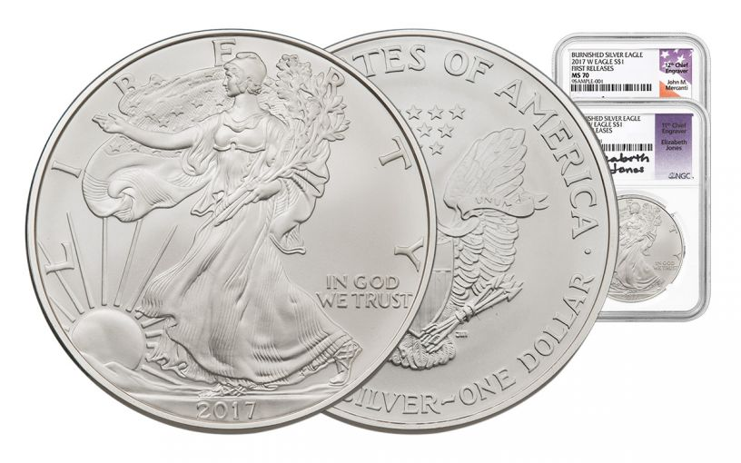 2017-W 1 Dollar 1-oz Burnished Silver Eagle NGC MS70 First Release Mercanti - Jones 2pc Set