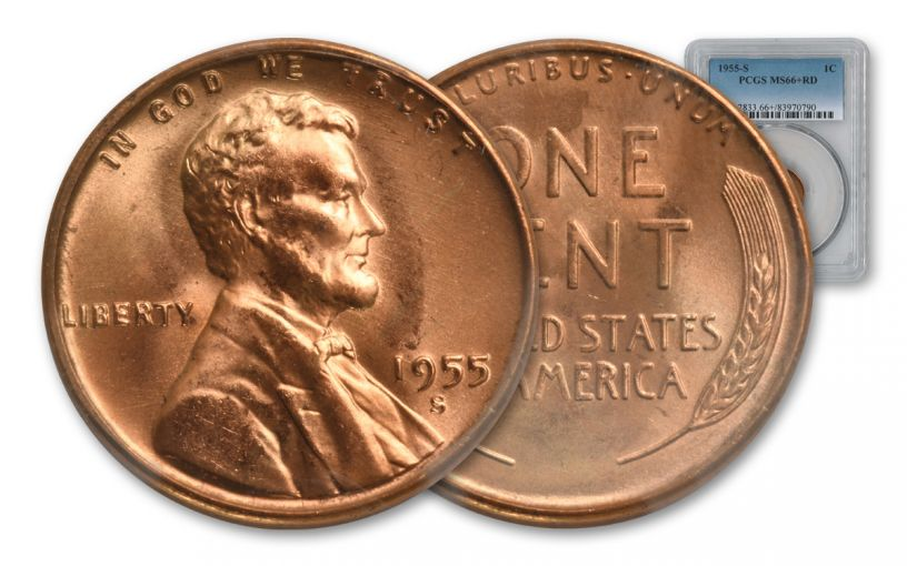 1955-S 1 Cent Lincoln Wheat NGC MS66+ Red