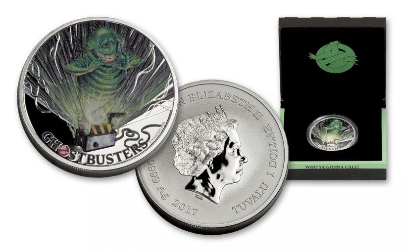 2017 Tuvalu 1 Dollar 1-oz Silver Ghostbusters Slimer