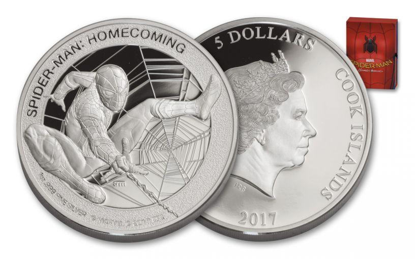 2017 Cook Islands 5 Dollar 1-oz Silver Spider-Man Proof