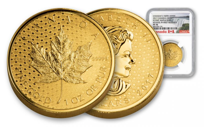 2017 Canada 200 Dollar 1-oz Gold Maple Leaf 150th Anniversary Reverse NGC PF70- First Release