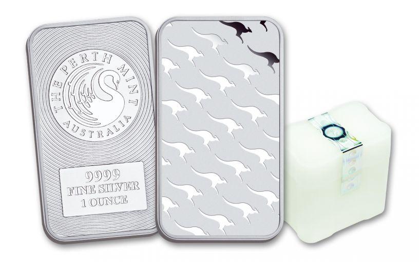 Australia 1-oz Silver Perth Mint Kangaroo Bar- 15 Pack