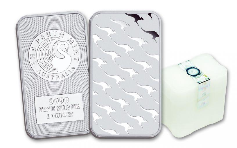 Australia 1-oz Silver Perth Mint Kangaroo Bar- 150 Pack