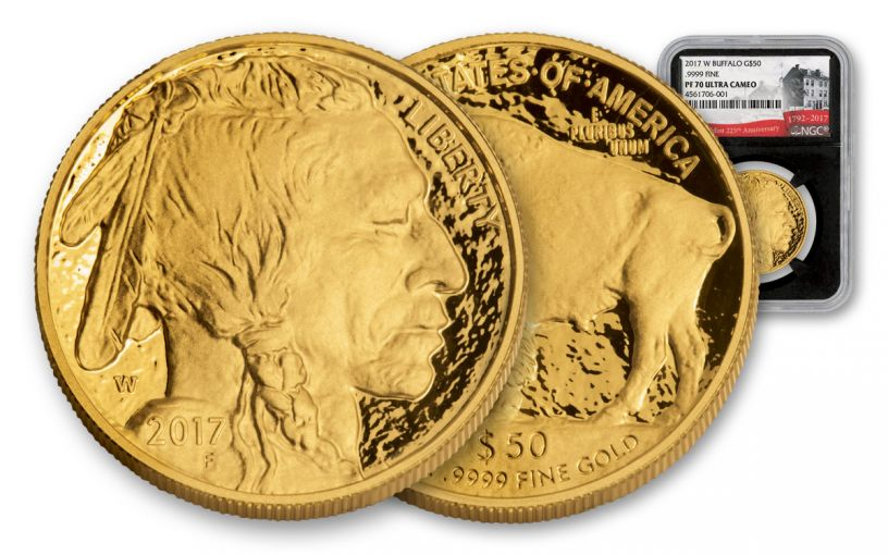 2017-W 50 Dollar 1-oz Gold Buffalo 225th PF70 UCAM BC