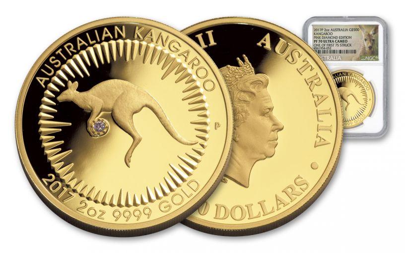 2017 Australia 2-oz Gold Kangaroo Diamond NGC Pf70UC FS