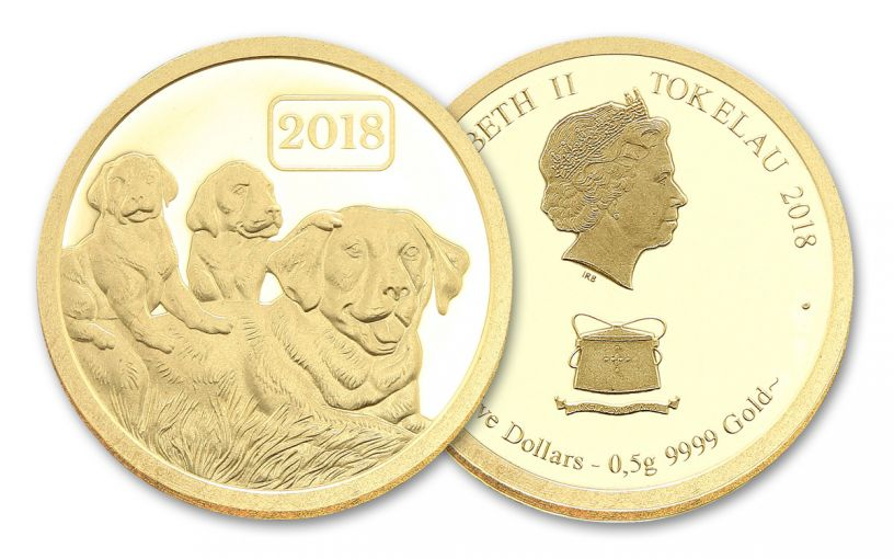 2018 Tokelau 5 Dollar 1/2 Gram Gold Year Of The Dog Proof