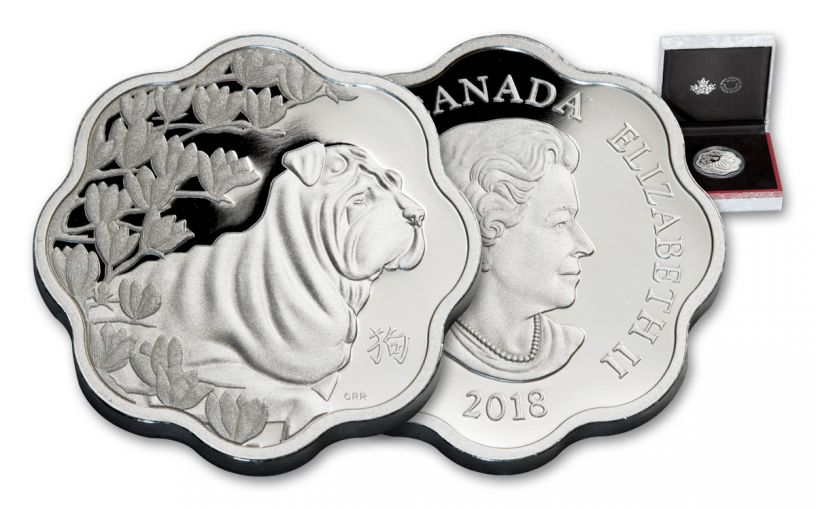 2018 Canada 15 Dollar Silver Year Of The Dog Lunar Lotus Proof