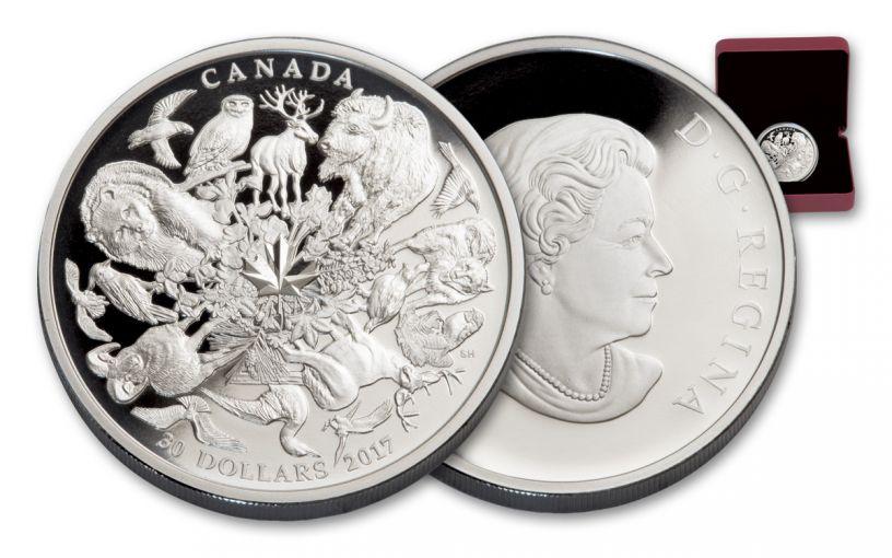 2017 Canada 30 Dollar 2-oz Silver Flora Funa Of Canada Proof