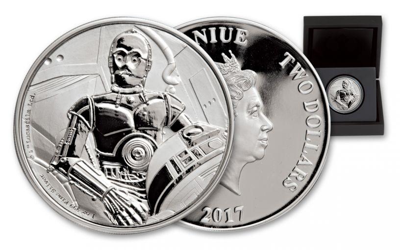 2017 Niue 2 Dollar 1-oz Silver Star Wars Classic C-3PO Proof